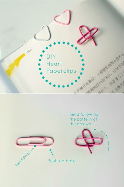 Insanely Simple Heart-Shaped Paper Clips | 37 Awesome DIYs To Make Before School Starts