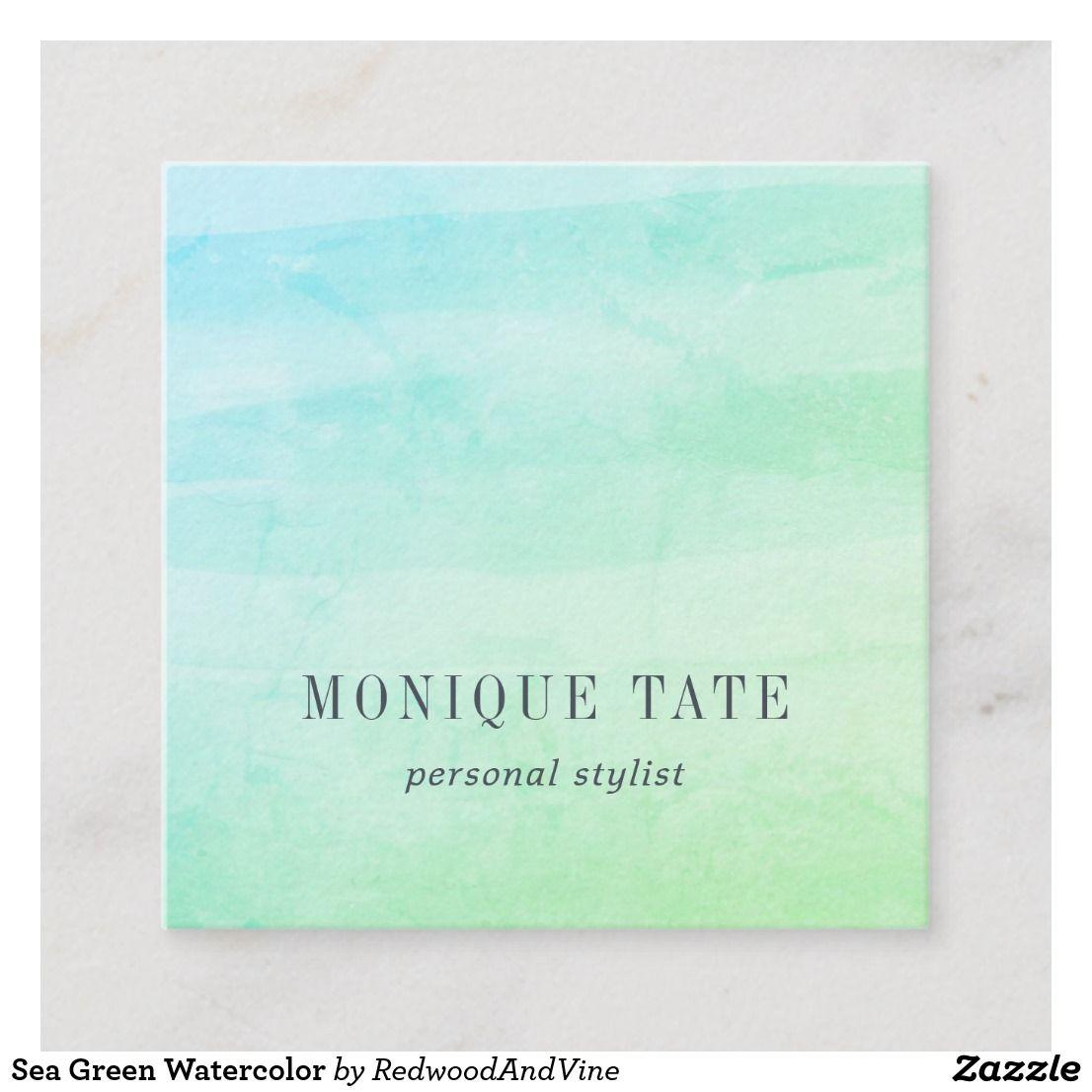 Sea Green Watercolor Square Business Card Zazzle Com Green