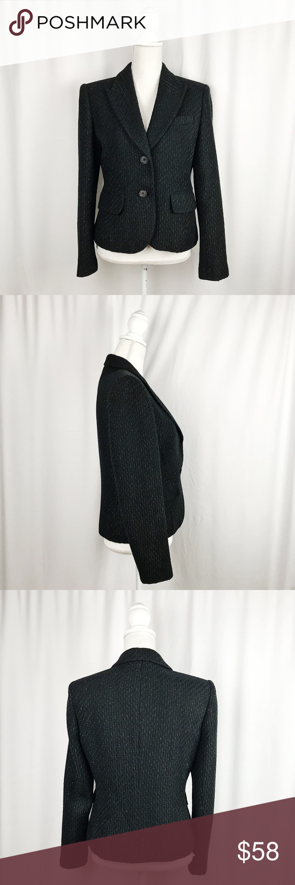 """MICHAEL by Michael Kors Wool Blend Blazer MICHAEL by Michael Kors Wool blend blazer. Black with silver shimmer threaded detail. Excellent pre-loved condition.  Measurements:  Size 10  Pit- 20"""" Arms- 24"""" Length- 23""""  #0125 MICHAEL Michael Kors Jackets & Coats Blazers"""