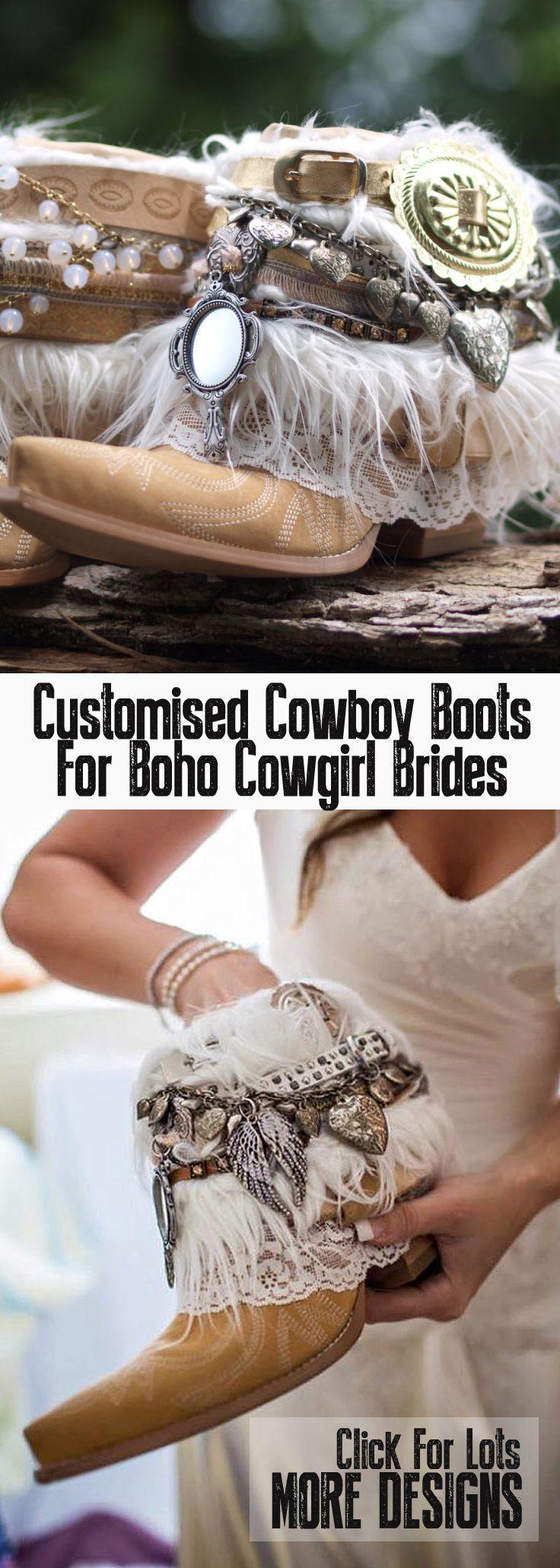 Custom bridal upcycled vintage cowboy boots boho boots wedding boots