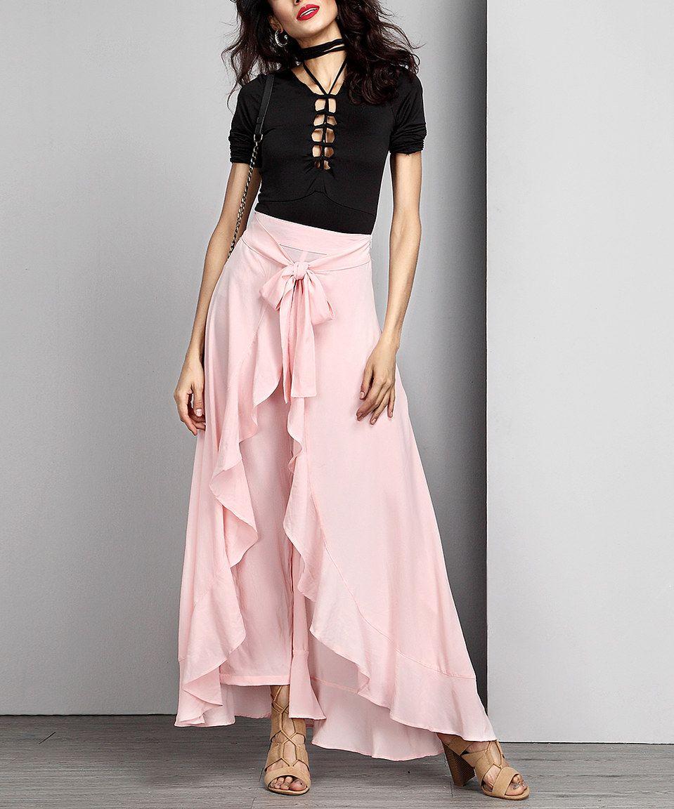 f916be8d0 Take a look at this Pink Chiffon Tie-Waist Ruffle Palazzo Pants ...