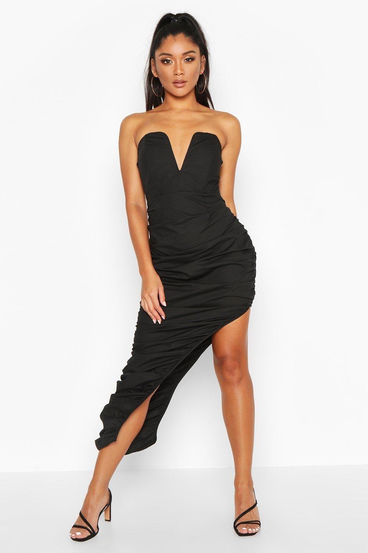 Womens Woven Plunge Rouche Hem Maxi Dress - black - 10 #blackmaxidress