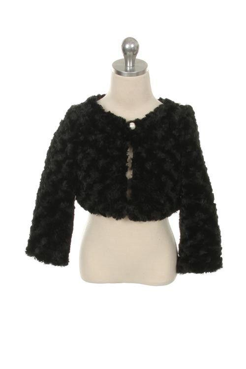 50570b2ac346 Kids Dream Little Girls Faux Fur Long Sleeve Pearl Bolero Jacket ...