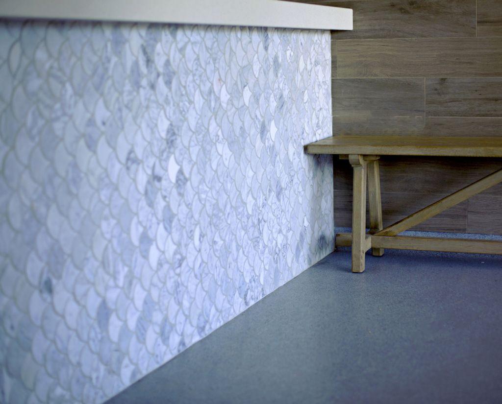 Carrara fan mosaic tile mermaid tile marble, scallop tile, nautical ...