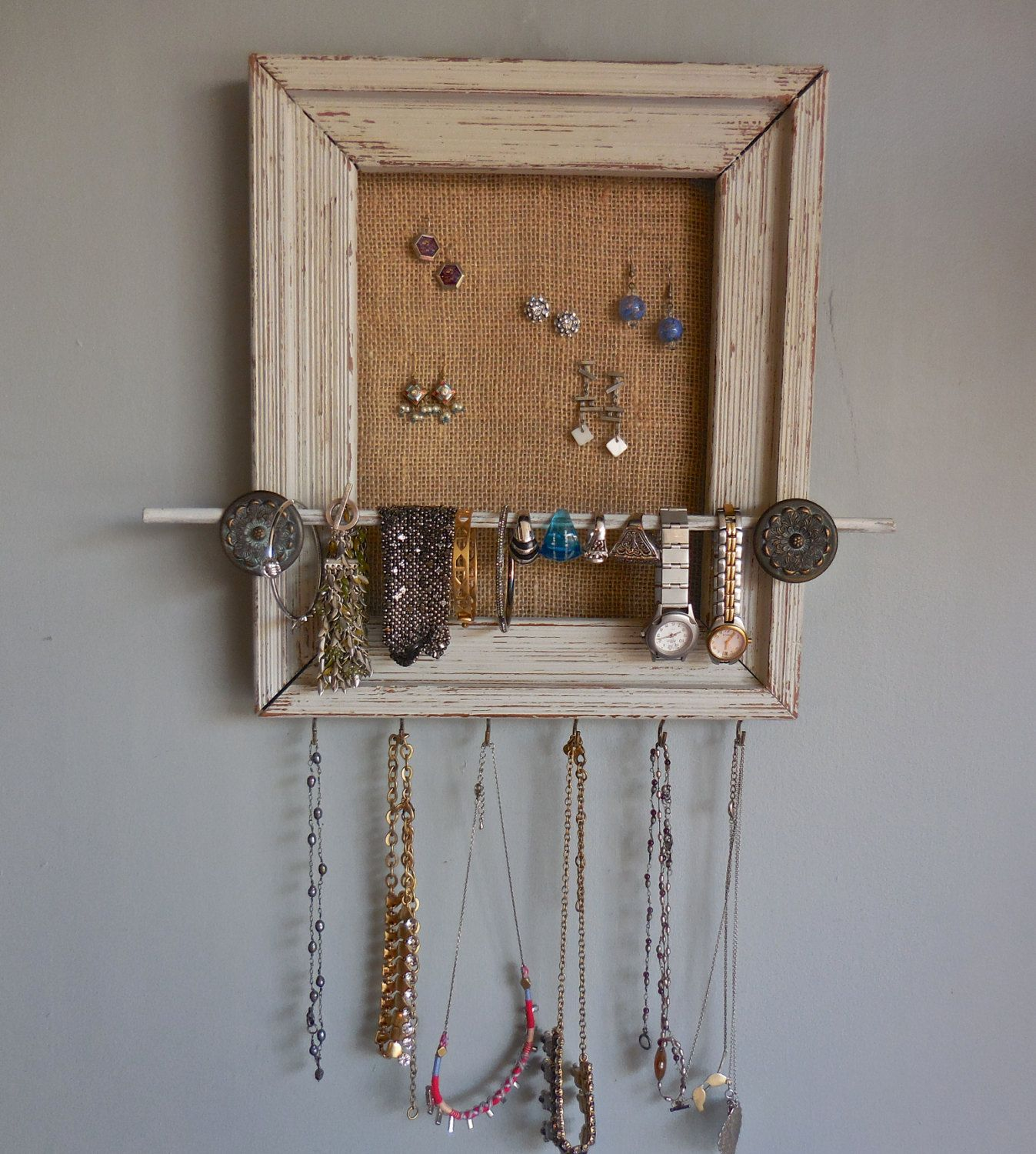 Shabby Chic Distressed Painted Wall Jewelry OrganizerUpcycled Wood