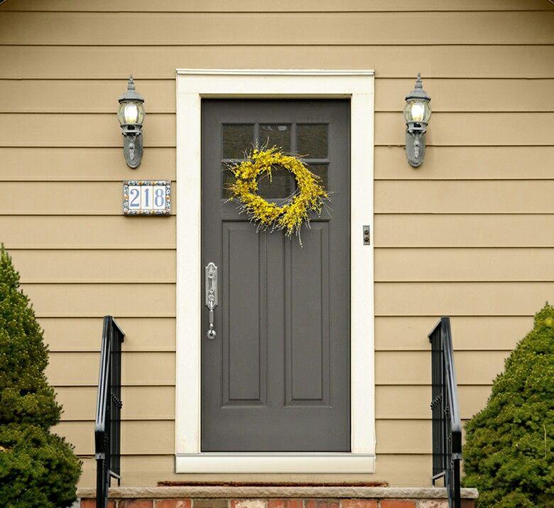 Yellow Front Door Brick House Color Schemes