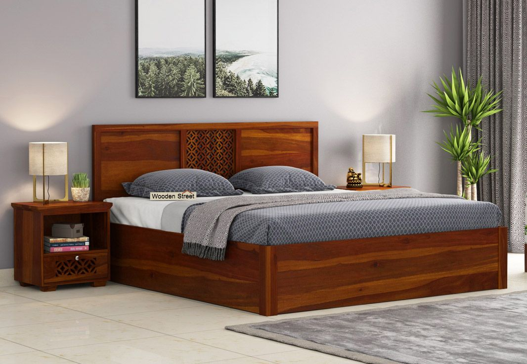 Best Buy Cambrey Hydraulic Bed King Size Honey Finish Online 640 x 480