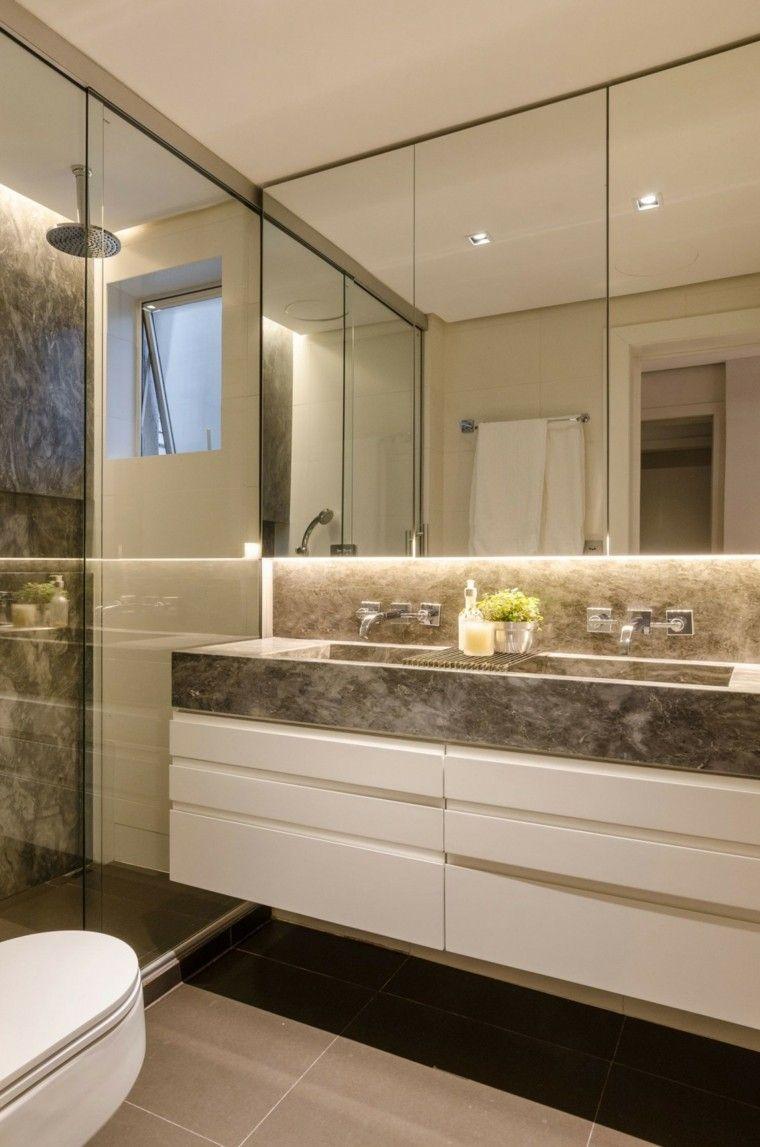 baño moderno al estilo minimalista con lavabo de mármol ...