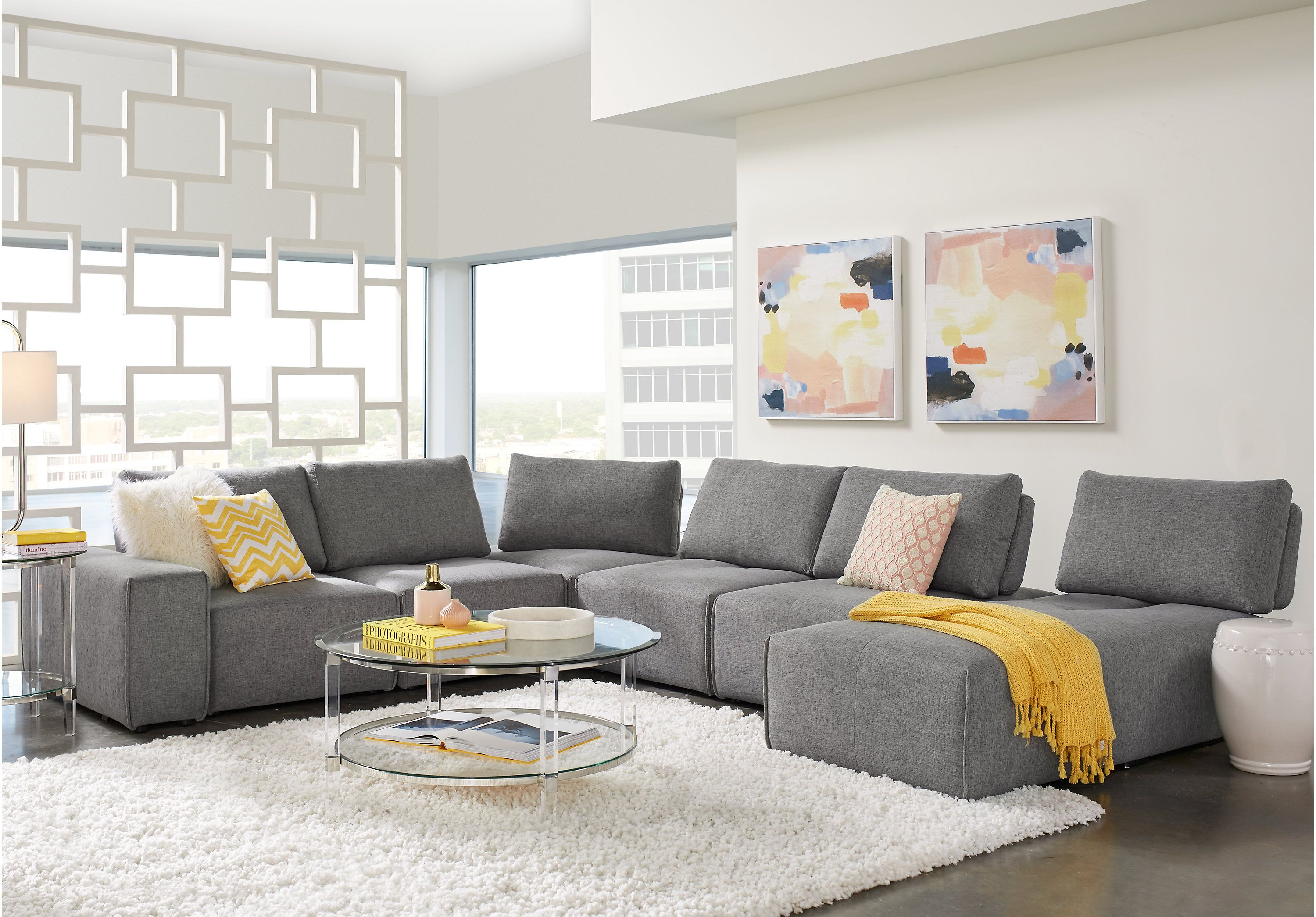 Laney Park Dark Gray 7 Pc Sectional Sectionals Gray Living