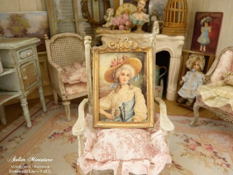 Lady /& Parrot Miniature Dollhouse Doll House Picture