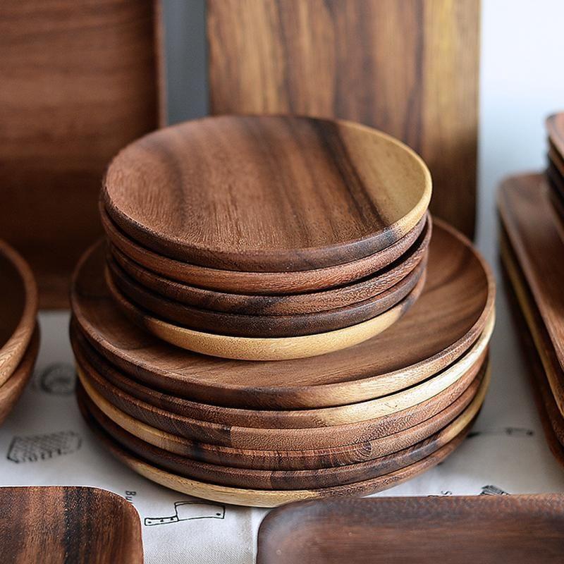 Round Acacia Wood Dinner Plates