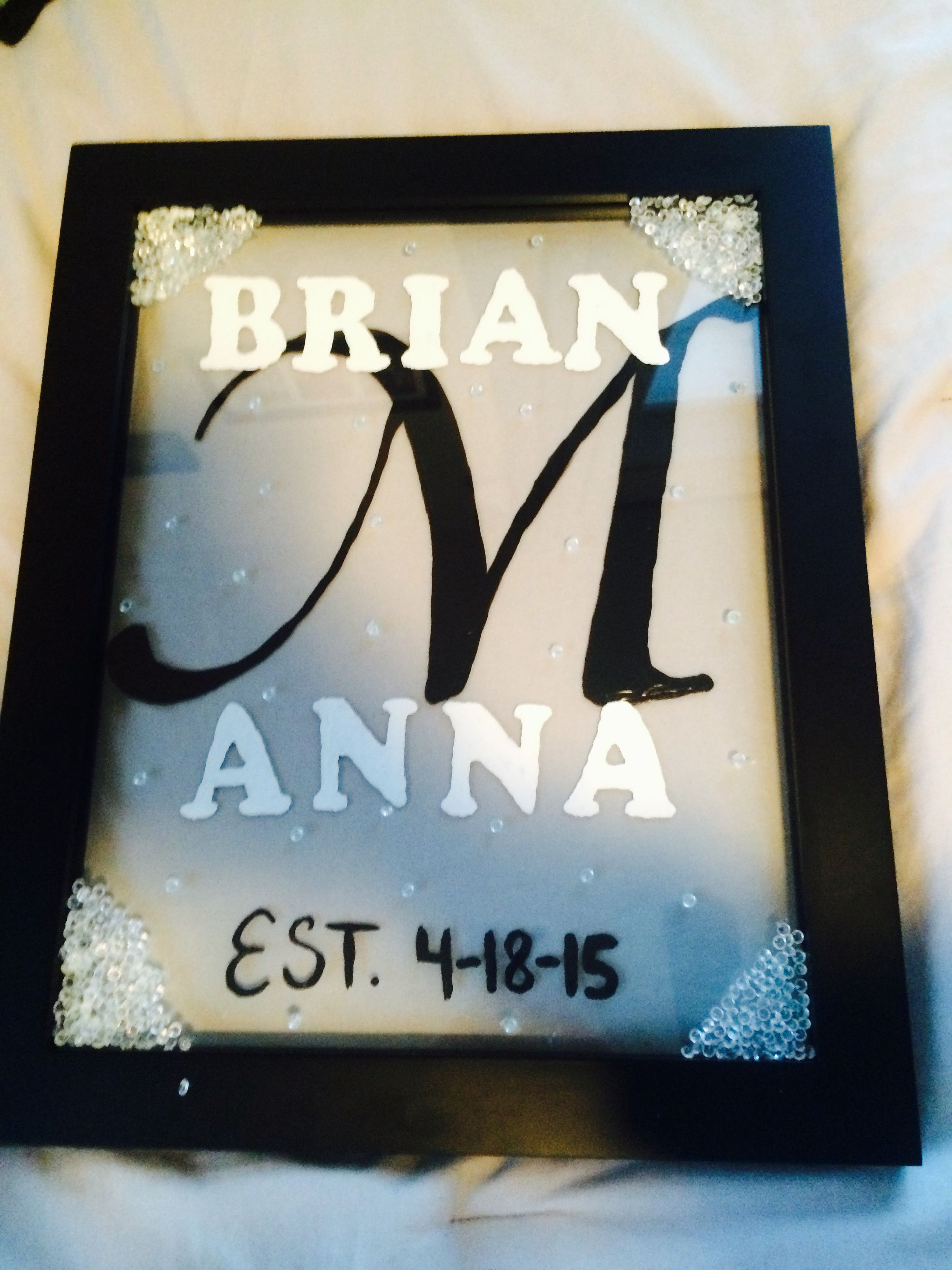 Homemade Wedding Gift All You Need Is Paint A Frame And Bubble Letters