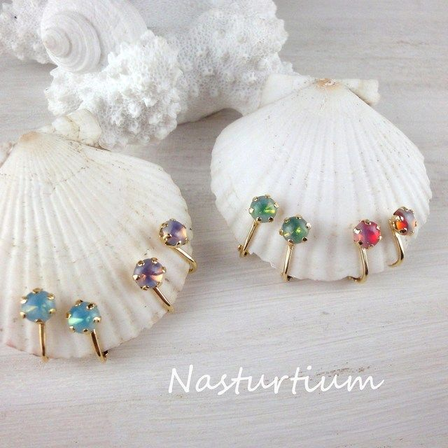 Vintage czech glass earrings【Purple】