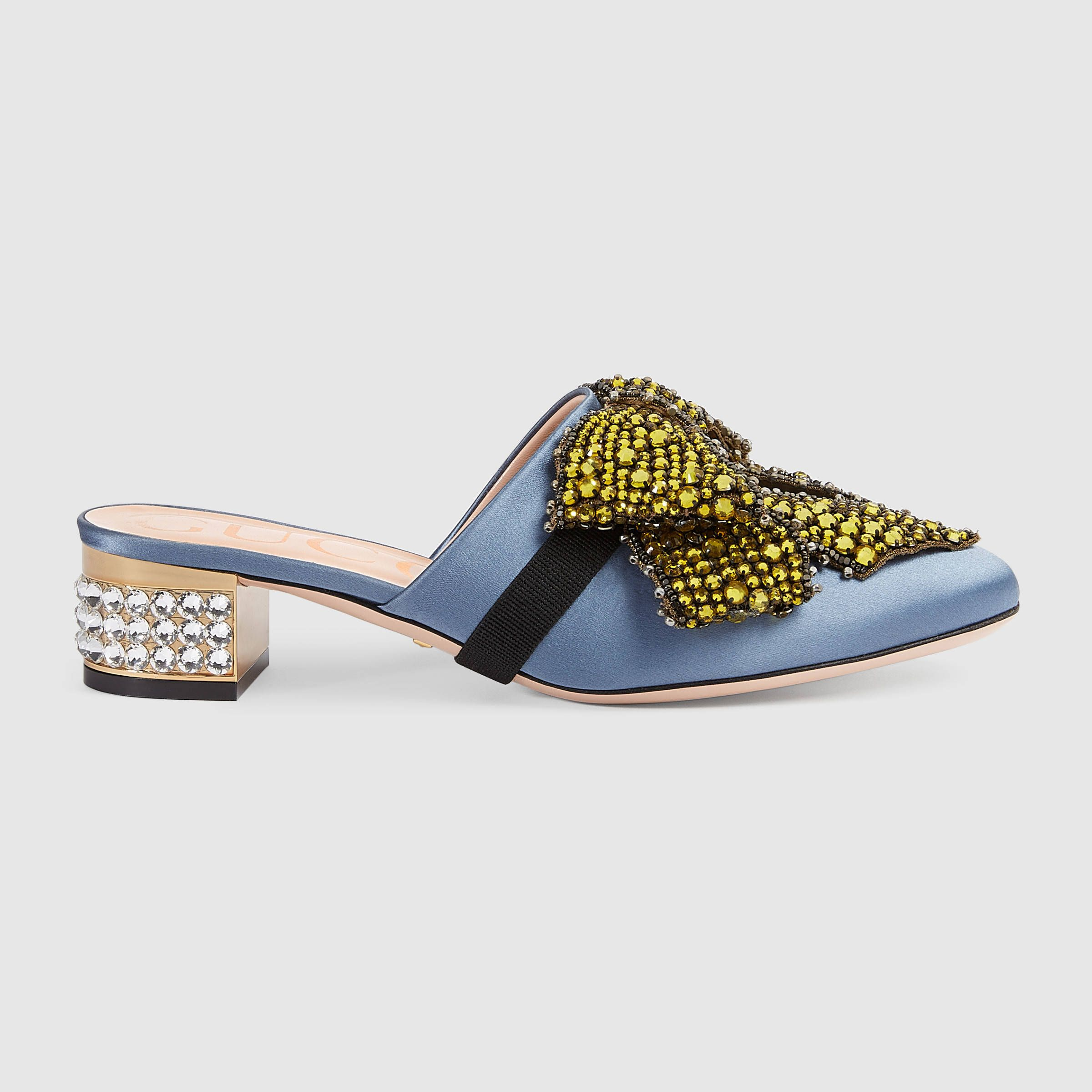 39fe4c108 Satin slipper with removable crystal bow - Gucci Women's Shoes  476021F14004200