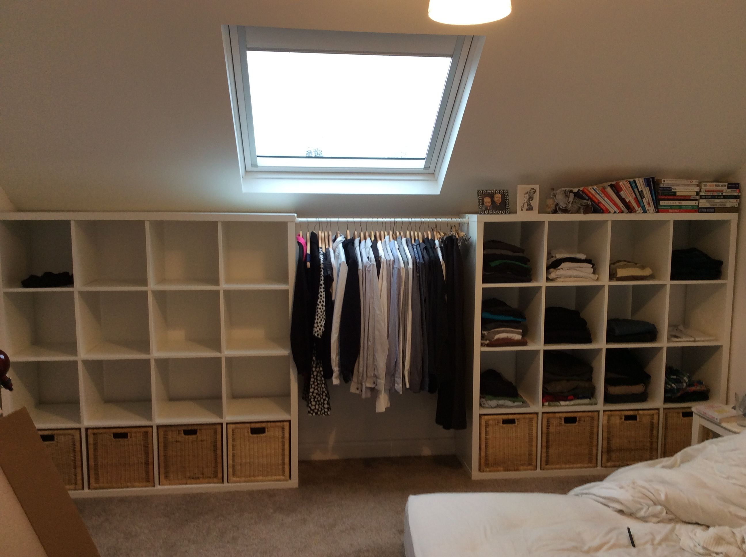 ikea kallax clothes storage his hers wardrobes open. Black Bedroom Furniture Sets. Home Design Ideas