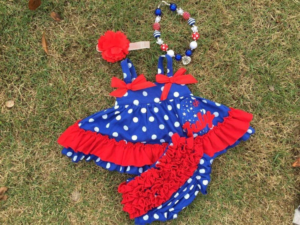 July 4th Embroidered Polka Dot Swing Top Set