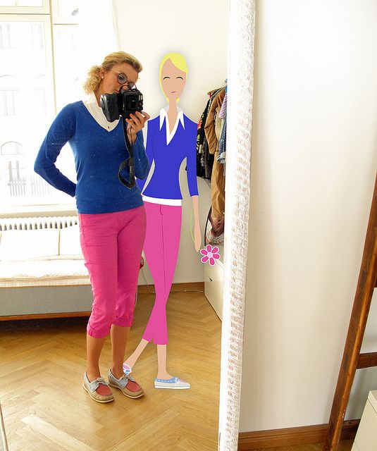 Pink trousers and blue sweather ... colour blocking in 2011