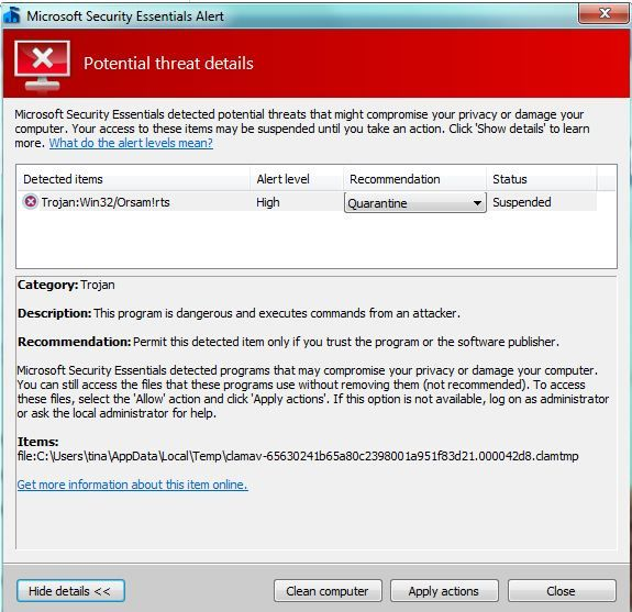 how to remove Trojan:Win32/Orsam!rts completely,how to get rid of
