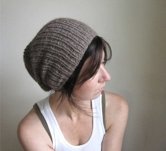 Alpaca Hand Knit Hat    Ash Brown    Slouchy by THIMBLEandACORN ... aedf31249961