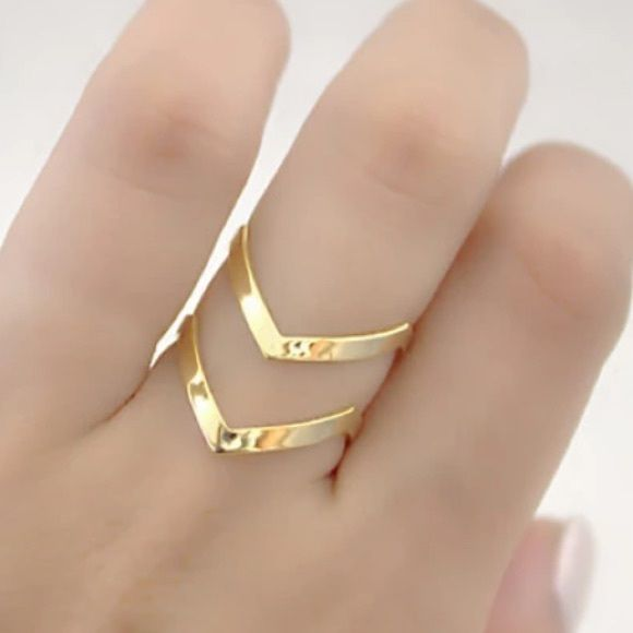 Gold Double Chevron Ring Gold Plated Double Chevron Ring