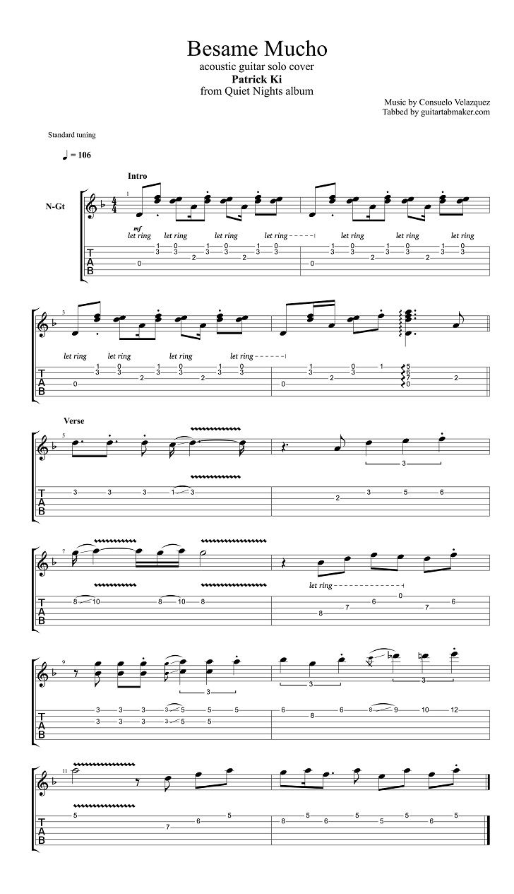 besame mucho guitar tabs acoustic pdf acoustic guitar sheet music download guitar pro tab. Black Bedroom Furniture Sets. Home Design Ideas