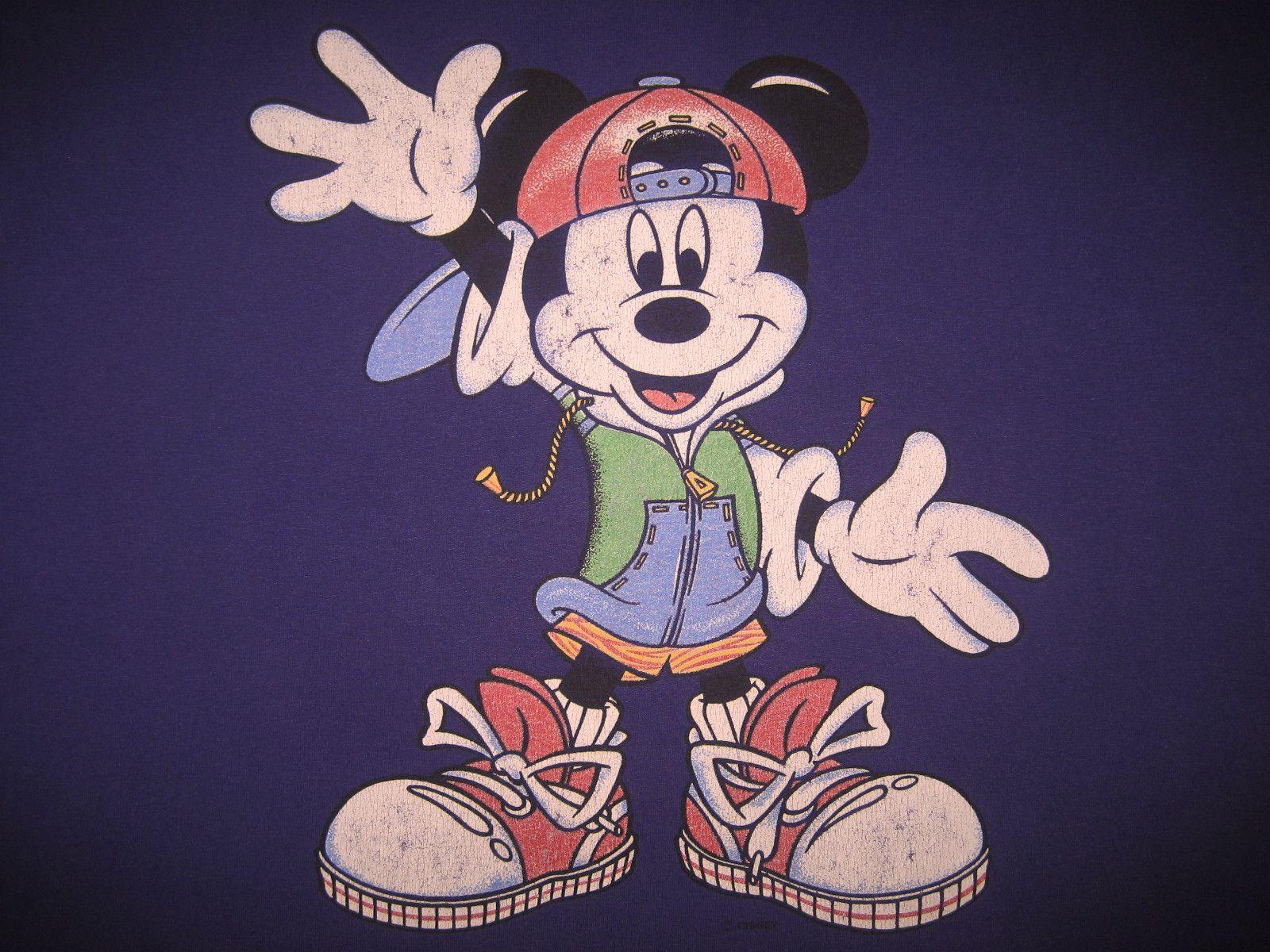 f960560b Original 90s Hip Hop Mickey Mouse Vintage Disney Street Rap T Shirt | eBay