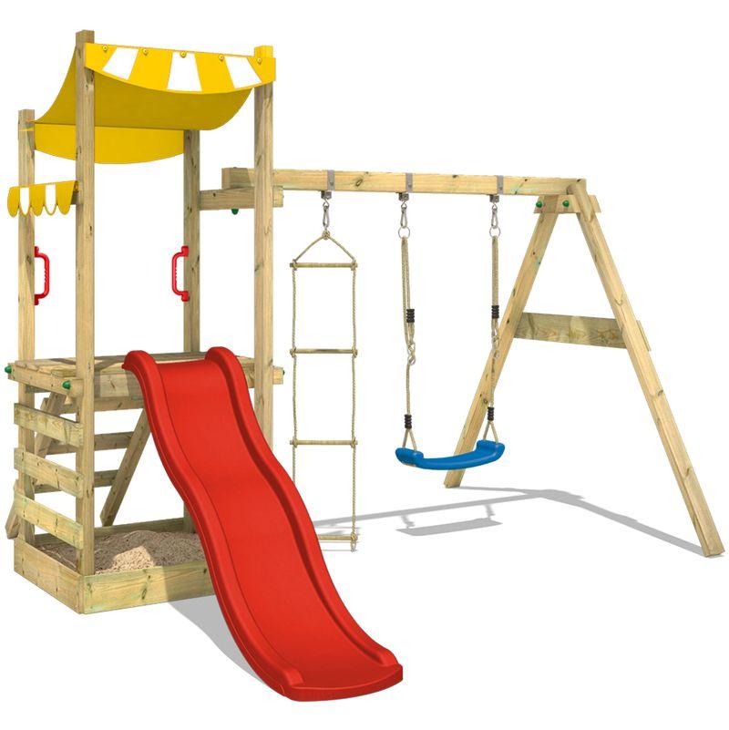 WICKEY Spielturm FunFlyer Spielhaus Klettergerüst mit Schaukel ...