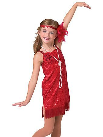 da8d34300b6 Child Dlx Red Flapper Sequin Dot Velvet Dress Costume - Girls 20 s  Halloween Costumes