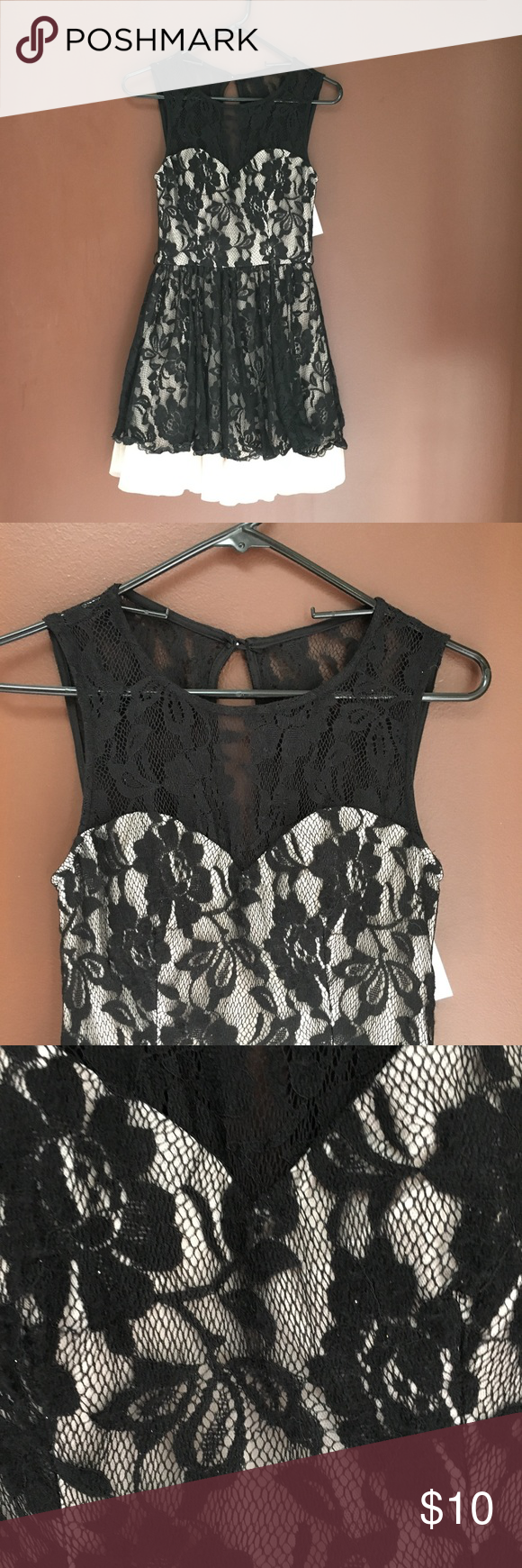 Black Lace Over Cream Fit Flare Dress Fit Flare Dress Flare Dress Black Lace [ 1740 x 580 Pixel ]