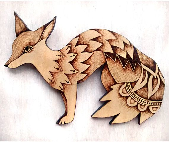 Wood Wall Hanging fox wall hanging fox art wood wallhanging pyrography wood | office