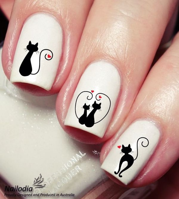 Lovely Valentines Day Nail Art Designs Cat Nail Art Cat Nail Designs Valentines Nails