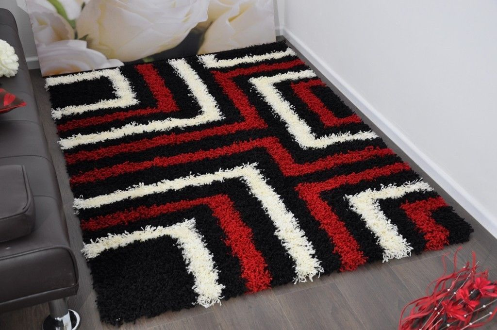 Number 3 Red Black White Tides Modern Plain 5cm Shaggy Rugs Thick
