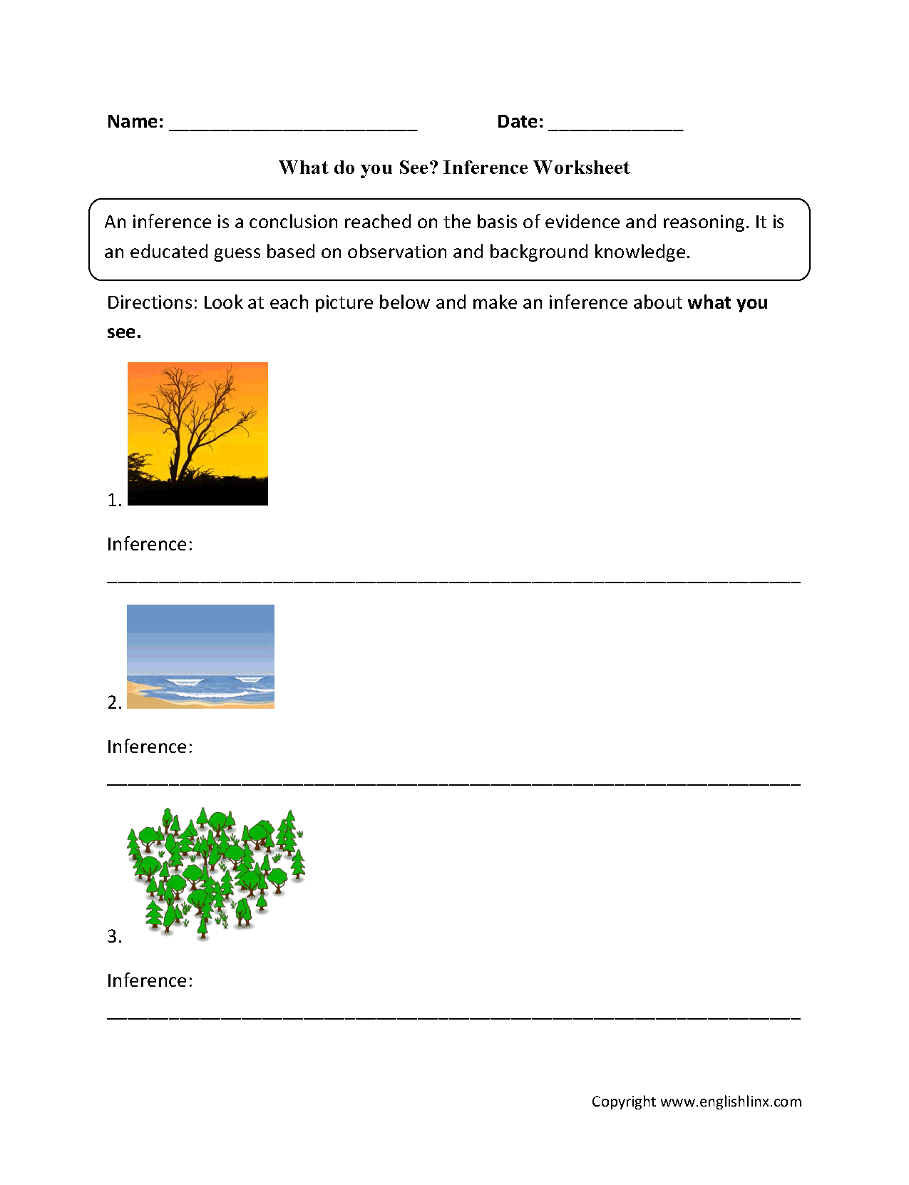 What Do You See Inference Worksheets