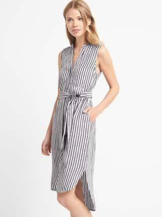 0a7d67fc27f Linen sleeveless stripe shirtdress