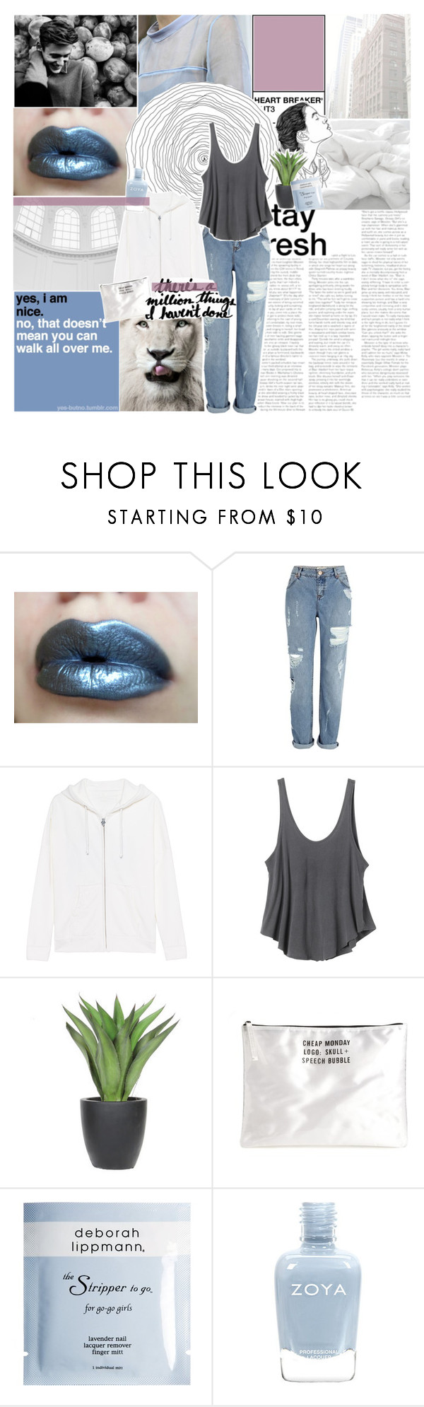 """""""there's a million things i haven't done --"""" by burning-citylights ❤ liked on Polyvore featuring River Island, True Religion, RVCA, Lux-Art Silks, Cheap Monday, Deborah Lippmann, Zoya and magazinesets"""