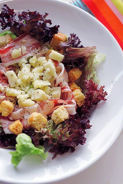 Pecorino Cheese, Pancetta and Crutons salad