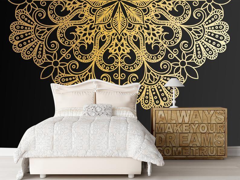 Bohemian Mandala Wallpaper Metallic Gold Mandala Wall Mural Black Friday Self Adhesive Dark Wallpaper Luxury Wall Decor Removable Mandala Wallpaper Dark Wallpaper Gold Mandala