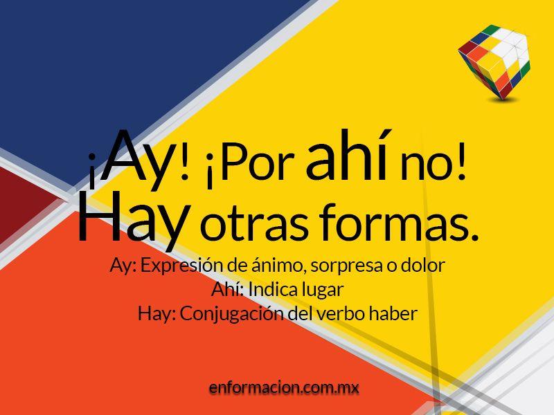 Diferencia Entre Ay Ahí Y Hay Verbo Haber Conjugación Del Verbo Ortografía