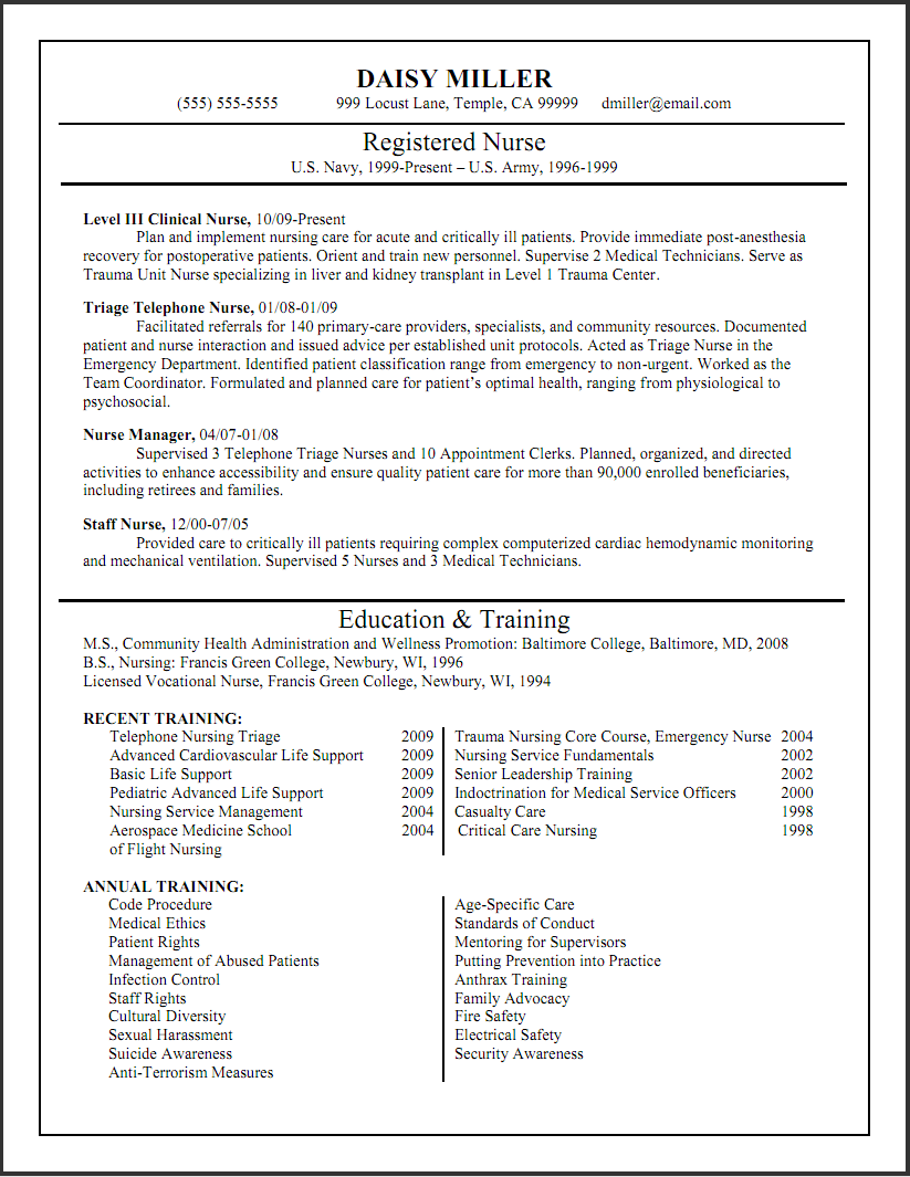 resume examples - Professional Nursing Resume Template