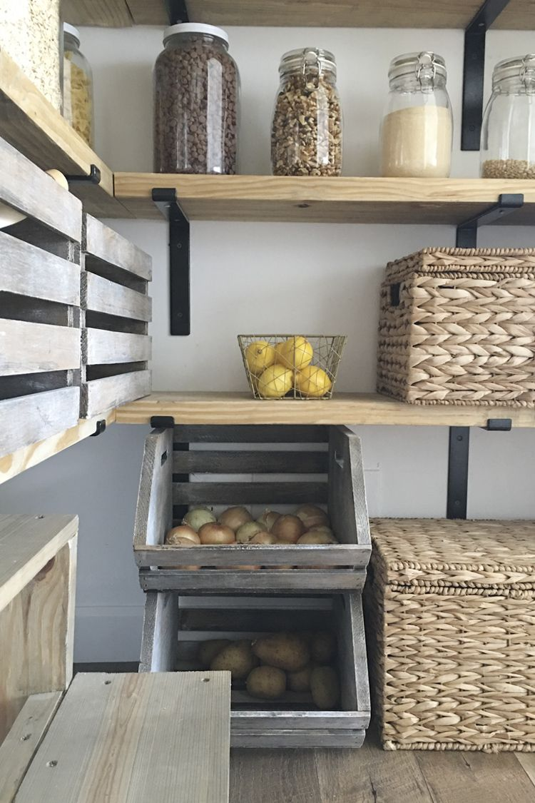 DIY Organized Walk In Modern Farmhouse Butler's Pantry Makeover With Floating Shelves - Using Crate & Pallet, Home Depot Brackets #pantryshelving
