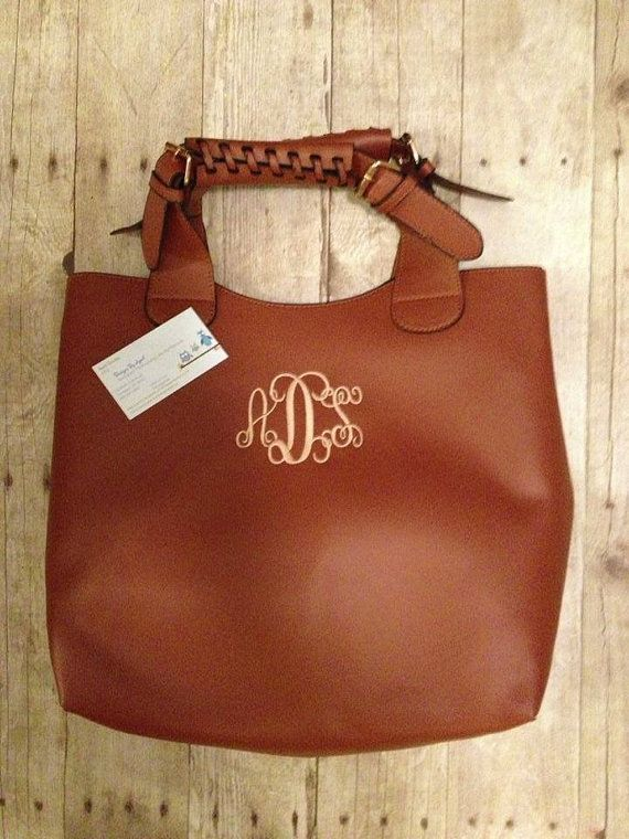 ae4a59177b Want Monogrammed Leather PURSE - Gift  Handbag  Diaper Bag  Hobo. I really  effing want this.