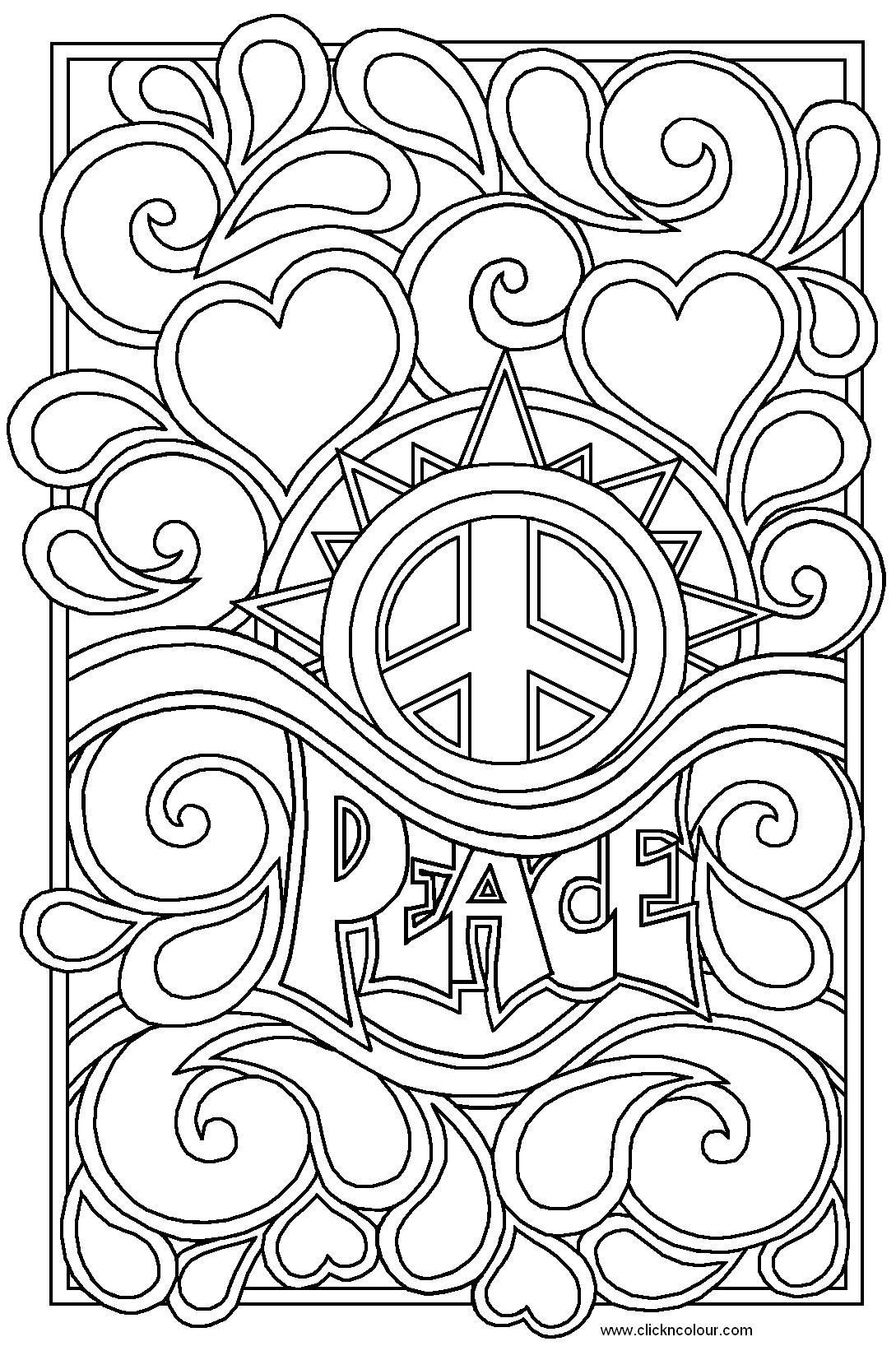 Heart coloring pages for teenagers peace and love colouring pages