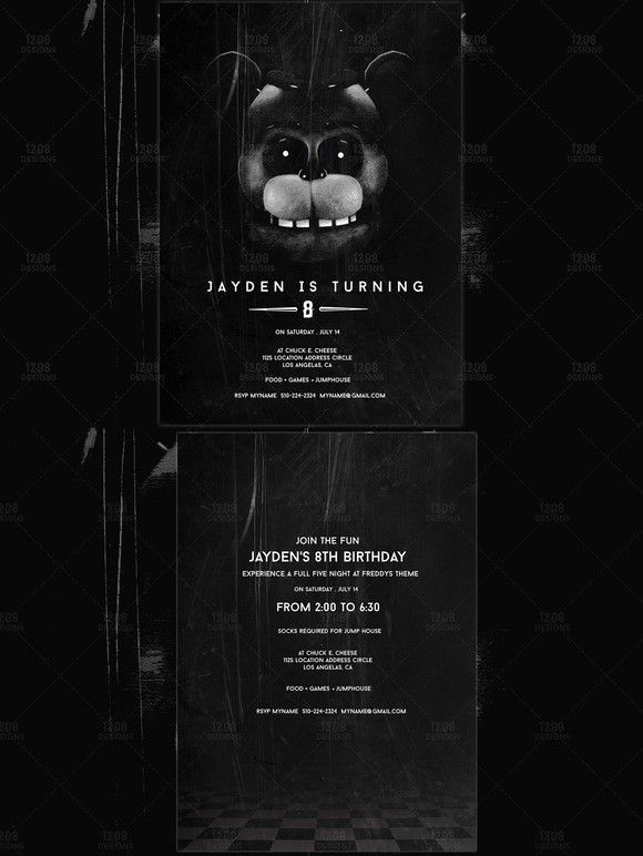 Five Nights At Freddys Birthday Invitation Templates