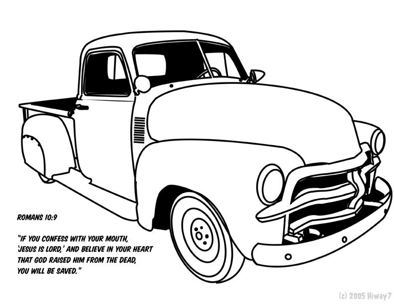 Coloring Pages Model T Ford : Vintage truck color book pages 1951 54 chevy truck by ~hiway7 on