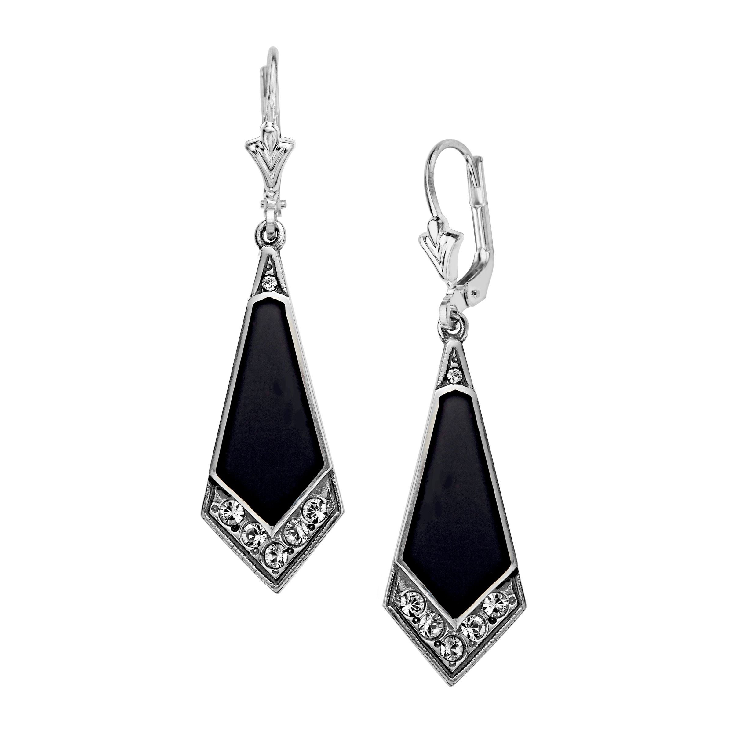 1920s earrings. Van Kempen Art Deco Drop Earrings with Swarovski Crystals in Sterling Silver from Jewelry.com $79.00 AT vintagedancer.com