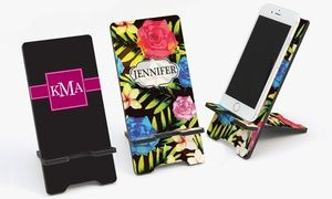 Keep track of work and play while your phone charges with this handsome, colorful monogrammed cell phone stand