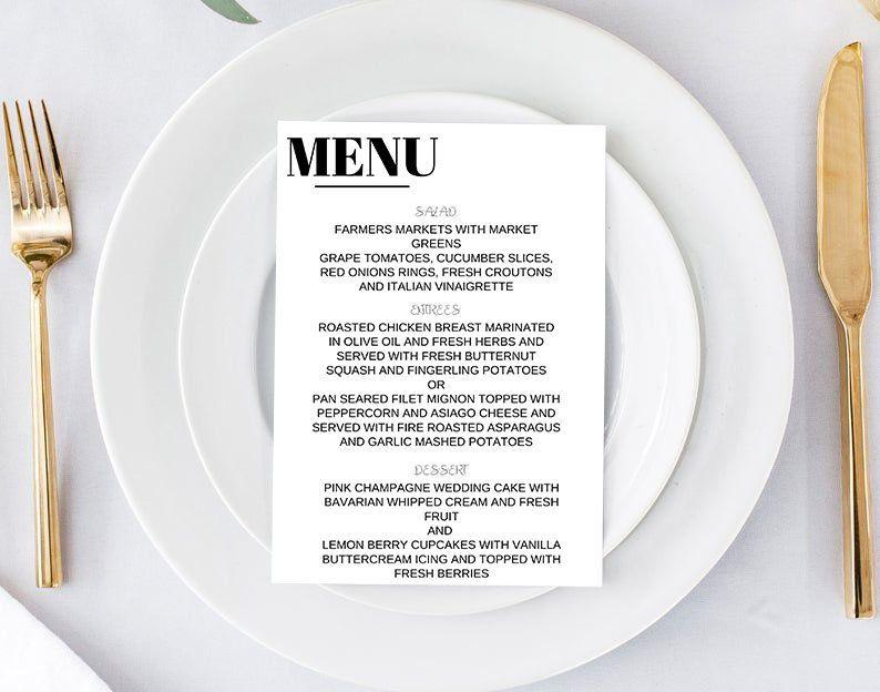 Minimalist Wedding Menu   Wedding Menu Template   Wedding Menu Card   Printable Wedding Menu Template   Reception Menu   K102