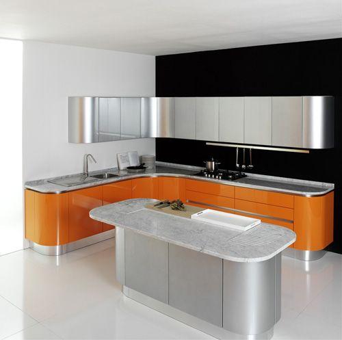 Art Deco kitchen in orange & aluminium & lots of curves