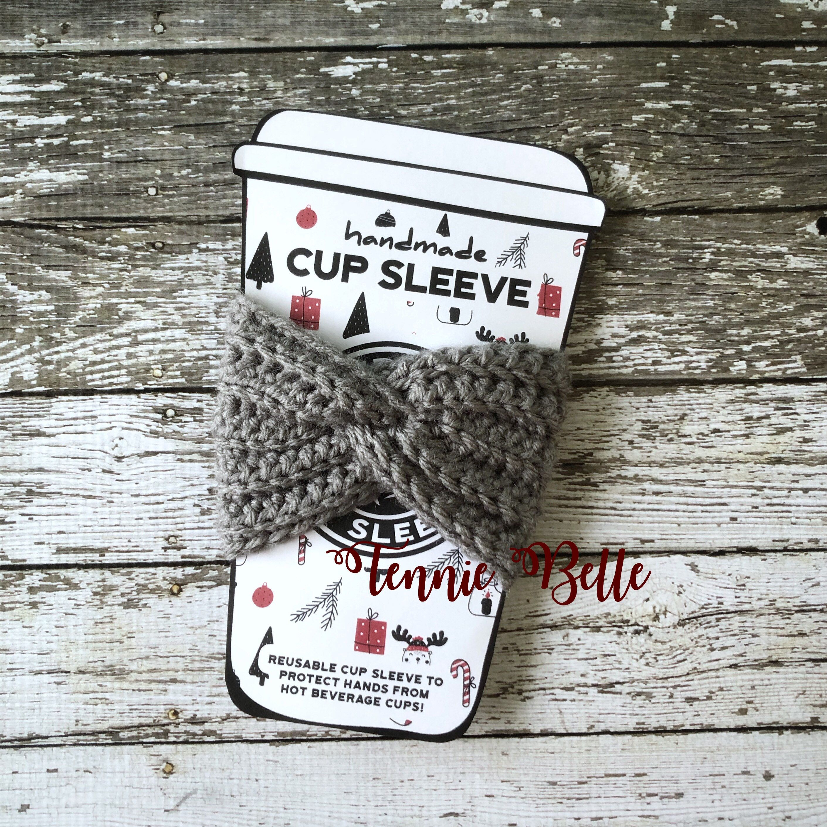Crochet Coffee Cup Cozy Twisted Reusable, Iced Coffee