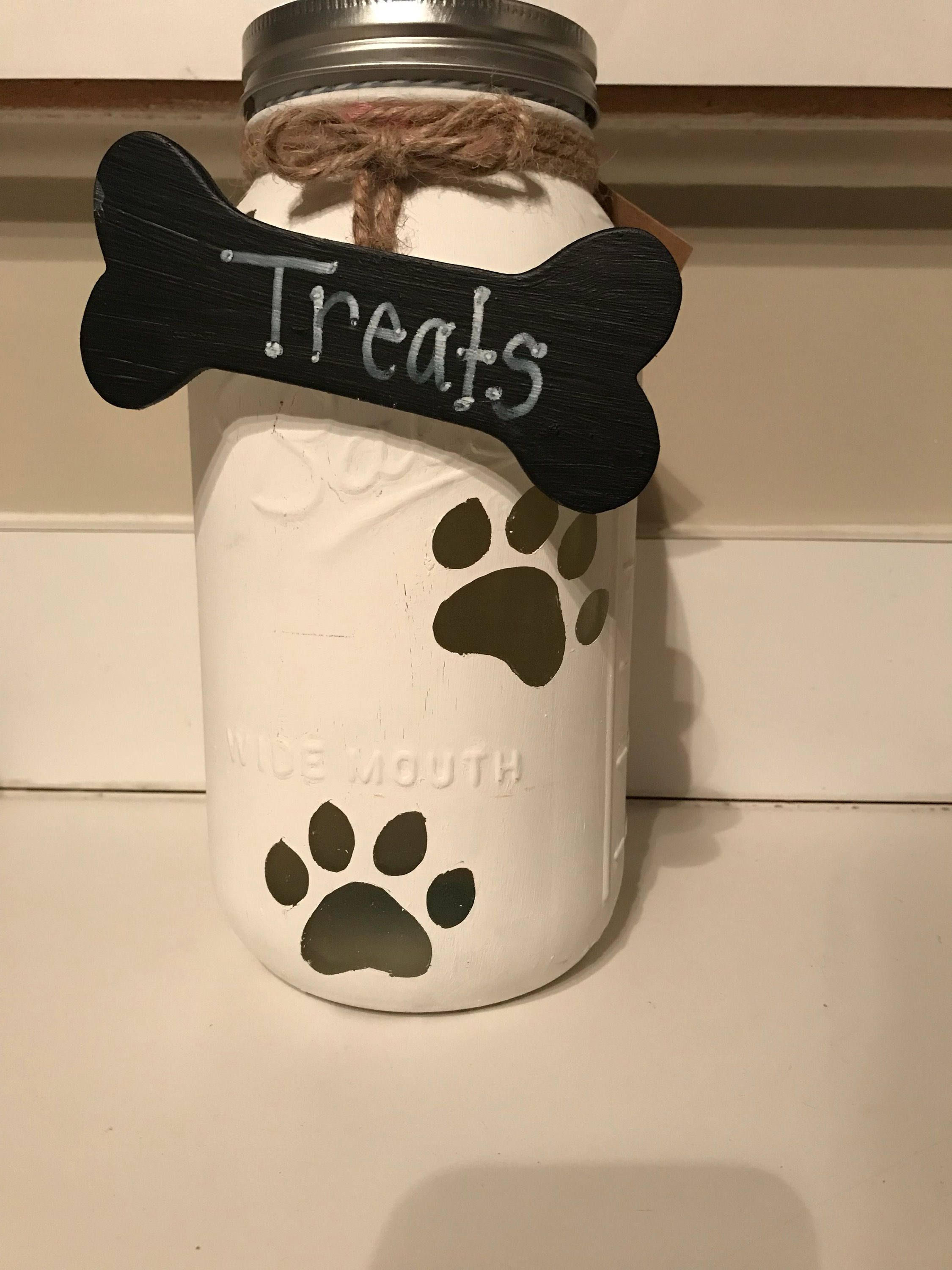 Doggie treats|fun mason jar dog treats|painted paw print mason jar|dog bone storage|doggie decor|puppy dog treats|mason jar for dogs